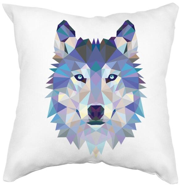 Подушка белая Полигональный волк, цвет белый