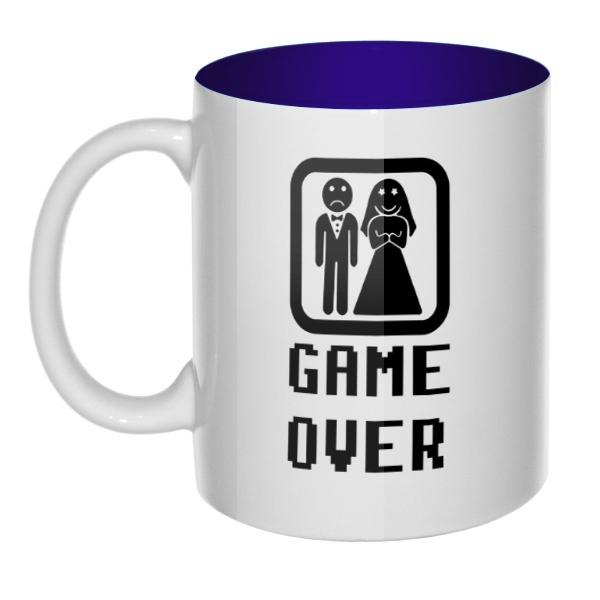 Кружка цветная внутри Game Over, цвет темно-синий