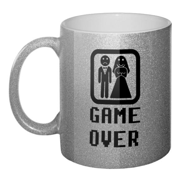 Кружка блестящая Game Over