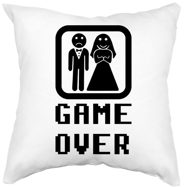 Подушка белая Game Over