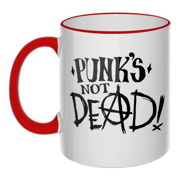 Кружка Punk's not dead с цветным ободком и ручкой