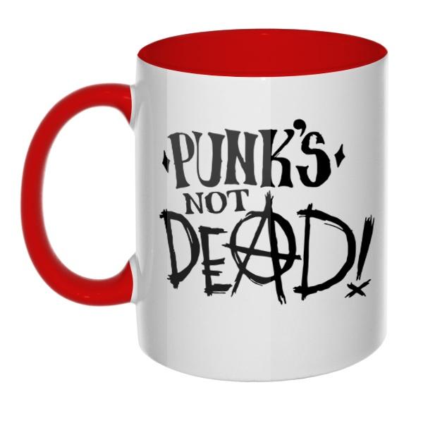 Кружка Punk's not dead цветная внутри и ручка