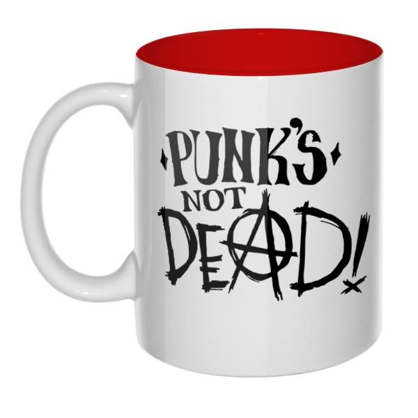Кружка цветная внутри Punk's not dead