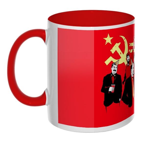 Communism party, кружка цветная внутри и ручка