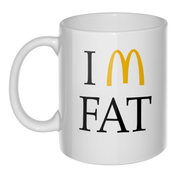 Кружка I am fat, цвет белый