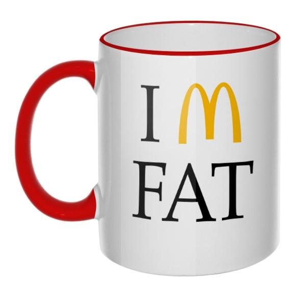 Кружка I am fat с цветным ободком и ручкой