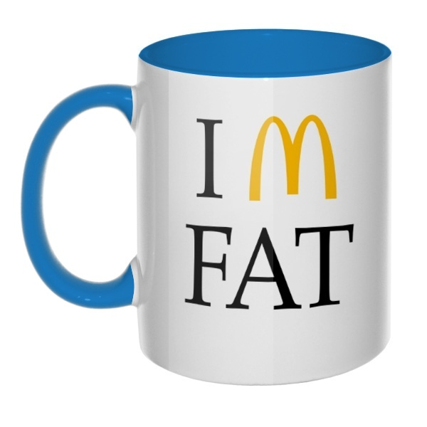 Кружка I am fat цветная внутри и ручка, цвет голубой