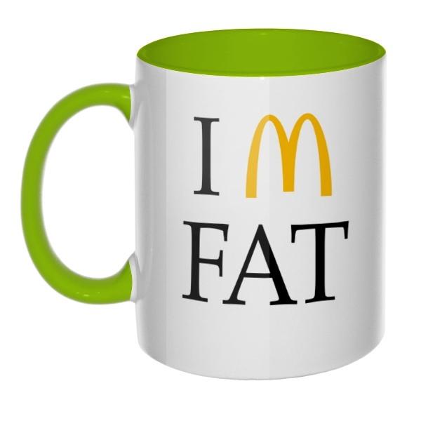 Кружка I am fat цветная внутри и ручка, цвет салатовый
