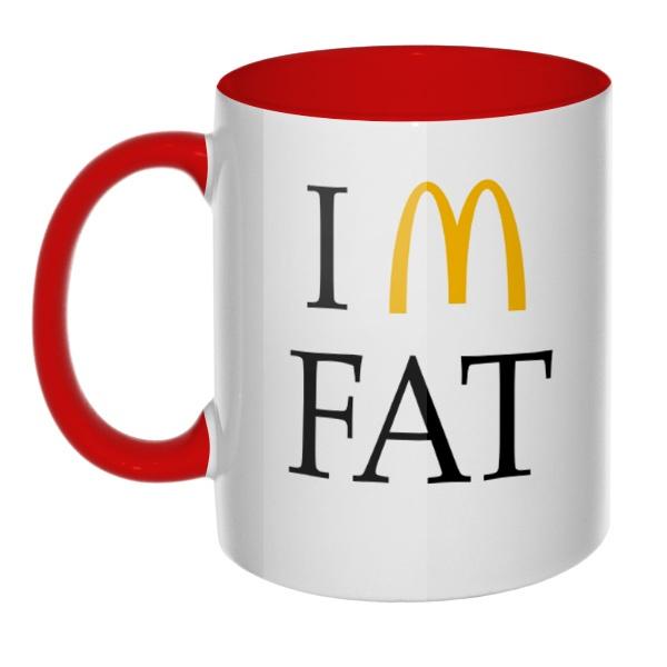Кружка I am fat цветная внутри и ручка, цвет красный