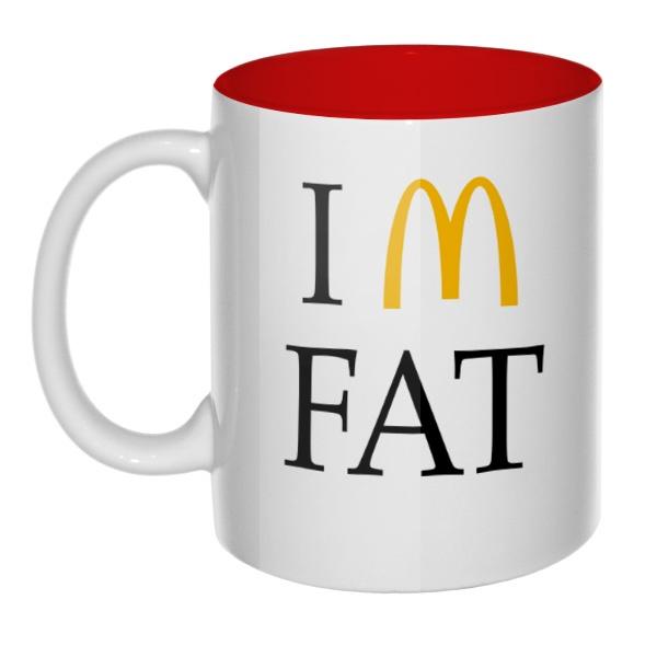 Кружка цветная внутри I am fat