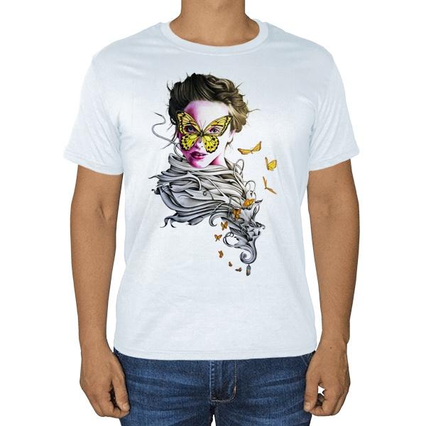 Девушка с бабочками, белая футболка