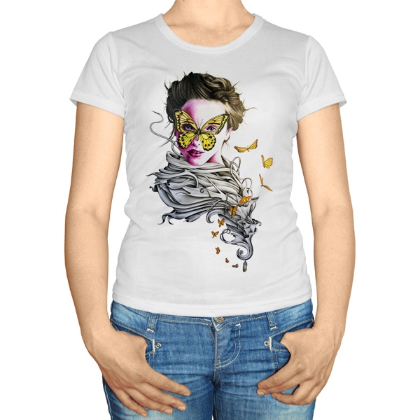 Женская футболка Девушка с бабочками