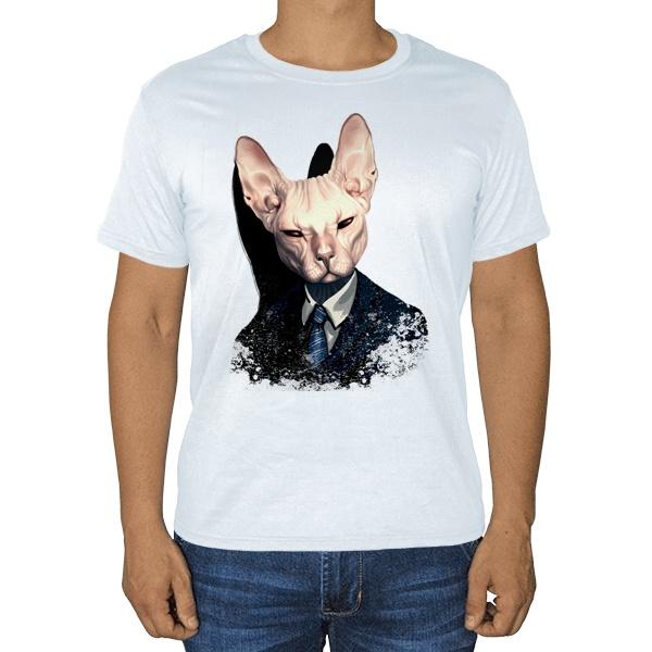 Кот сфинкс в пиджаке, белая футболка