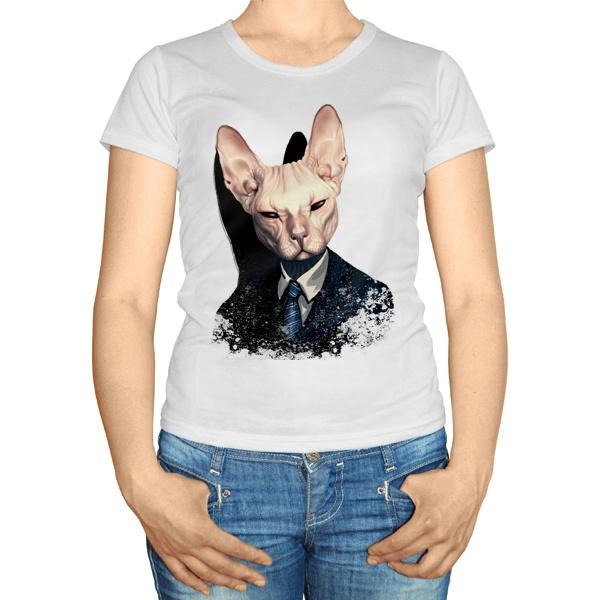 Женская футболка Кот сфинкс в пиджаке