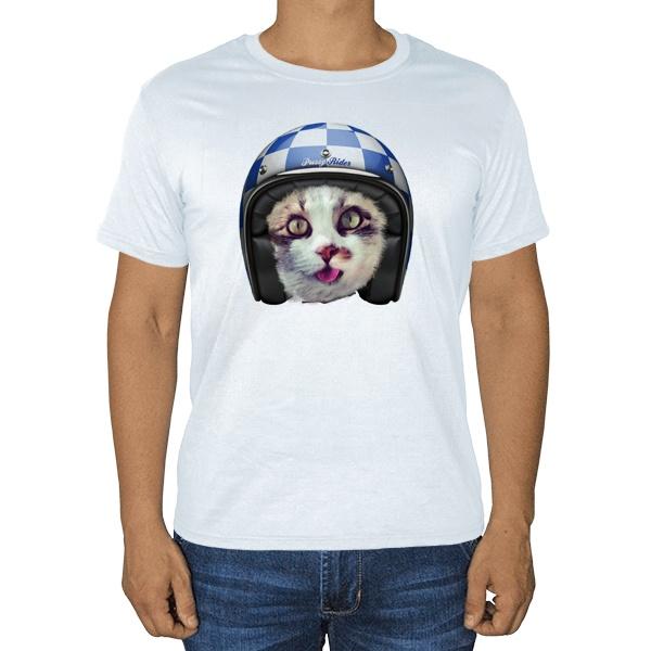 Кошка в шлеме, белая футболка