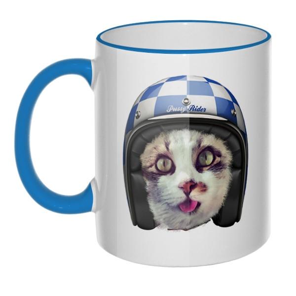 Кружка Кошка в шлеме с цветным ободком и ручкой