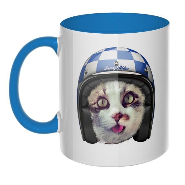 Кошка в шлеме, кружка цветная внутри и ручка