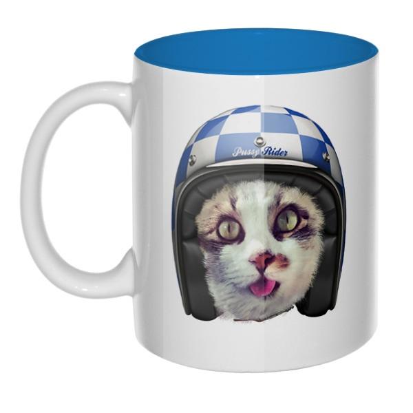 Кошка в шлеме, кружка цветная внутри
