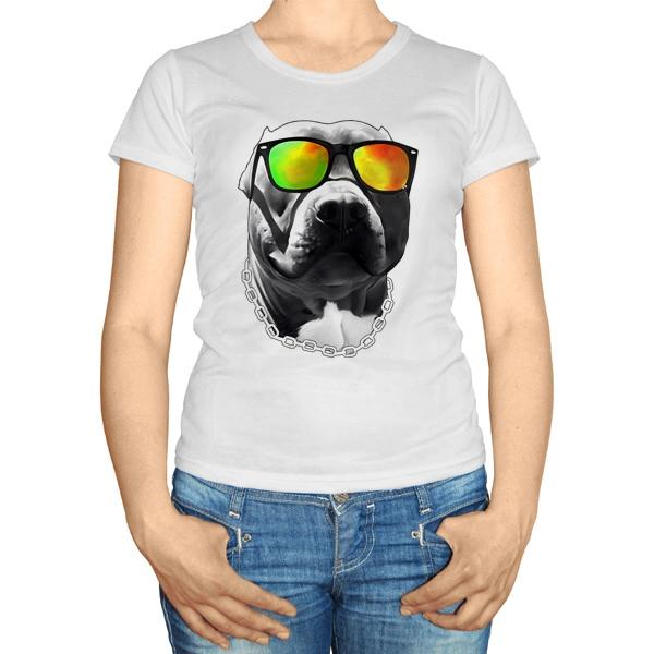 Женская футболка Бульдог в очках