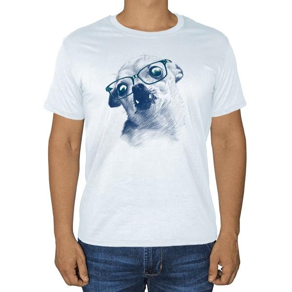 Чихуахуа в очках, белая футболка