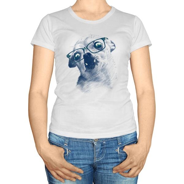 Женская футболка Чихуахуа в очках