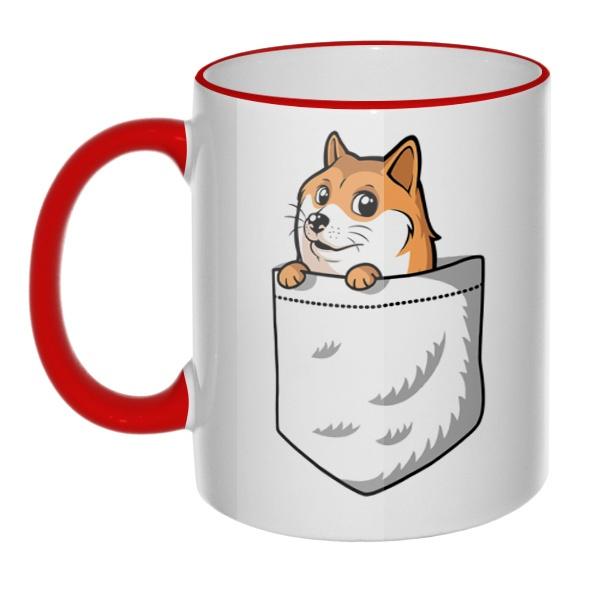 Кружка Собакен (Wow Doge) с цветным ободком и ручкой