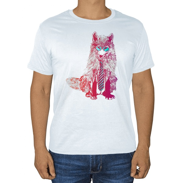 Модный лис, белая футболка