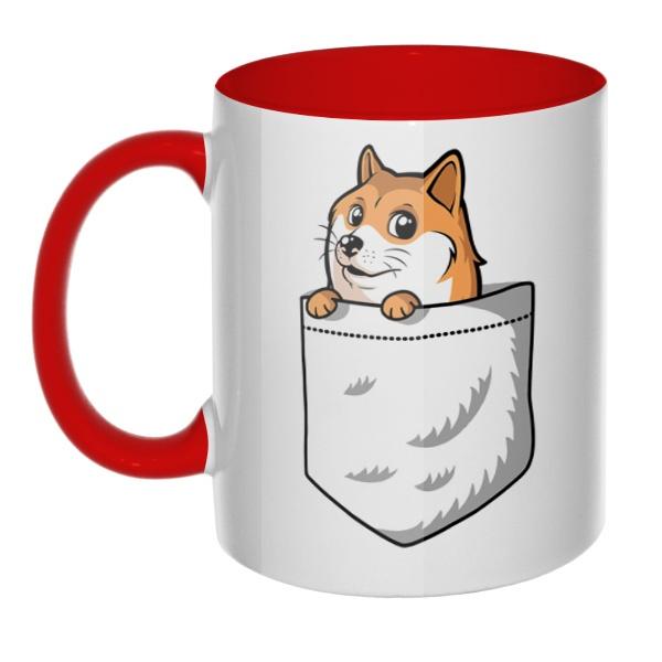 Кружка Собакен (Wow Doge) цветная внутри и ручка