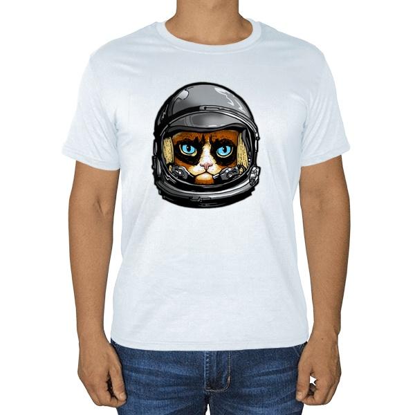 Кот в космическом шлеме, белая футболка