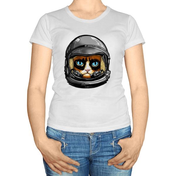 Женская футболка Кот в космическом шлеме