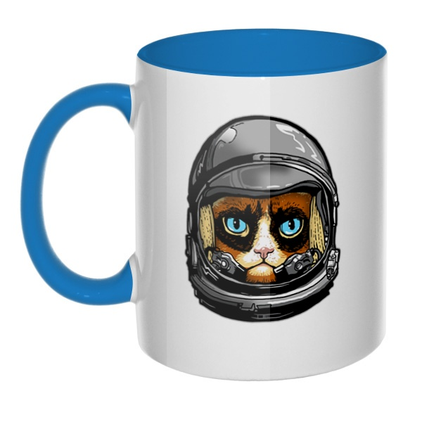 Кот в космическом шлеме, кружка цветная внутри и ручка