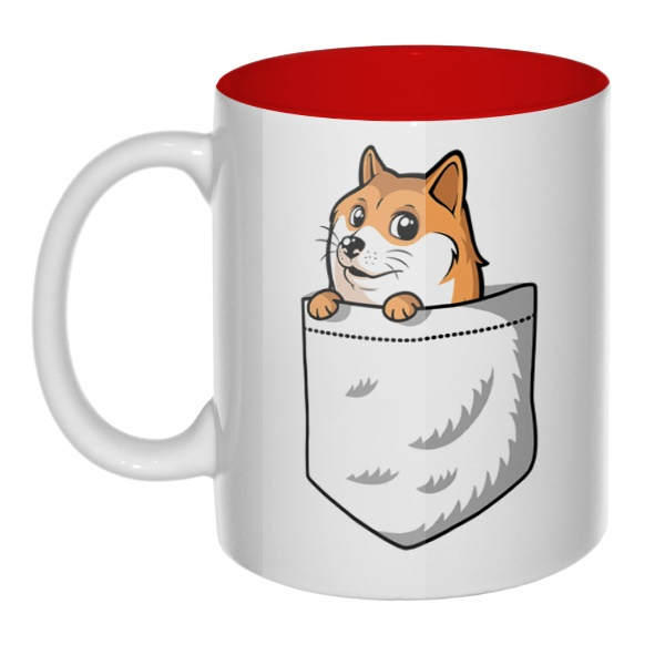 Кружка цветная внутри Собакен (Wow Doge)