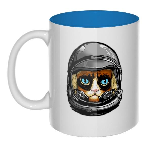 Кот в космическом шлеме, кружка цветная внутри