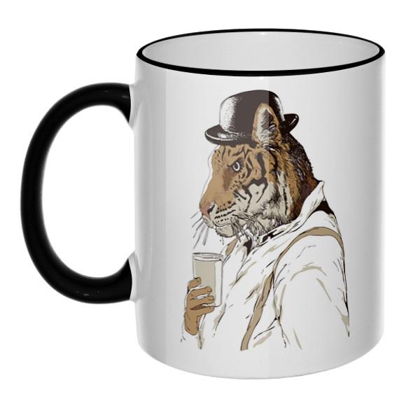 Кружка Тигр-человек с цветным ободком и ручкой