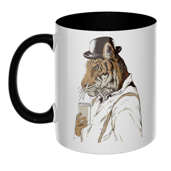 Тигр-человек, кружка цветная внутри и ручка