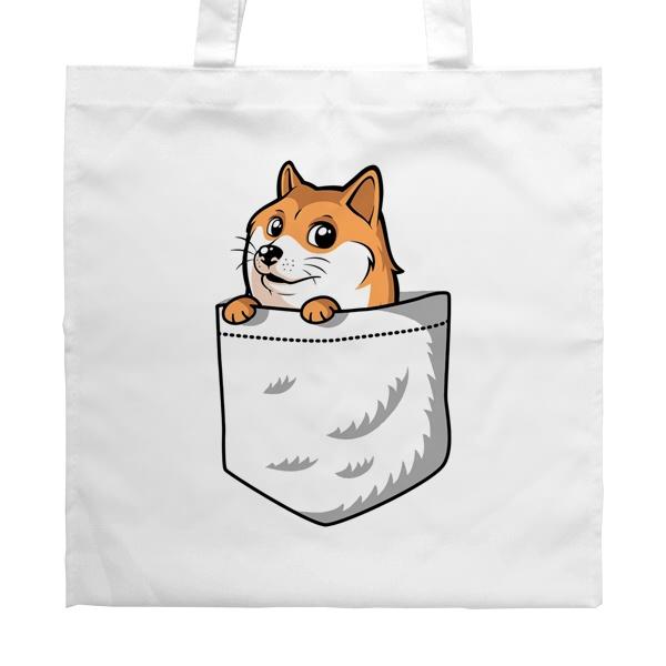 Белая сумка Собакен (Wow Doge)