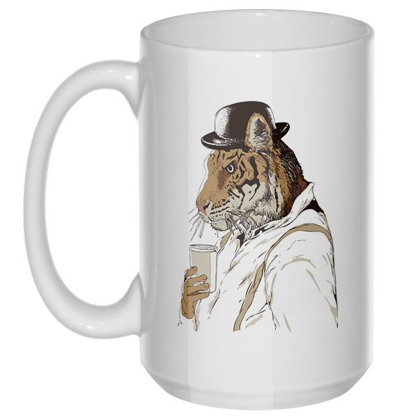 Тигр-человек, большая кружка с круглой ручкой