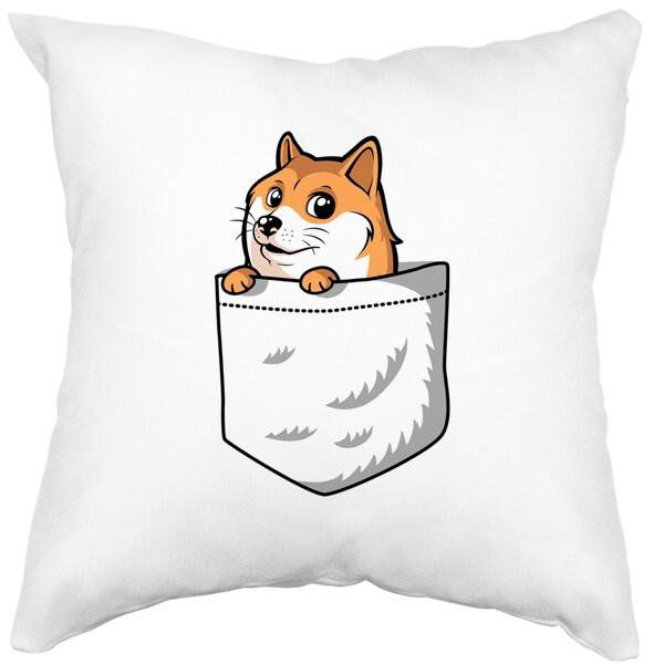 Подушка белая Собакен (Wow Doge)