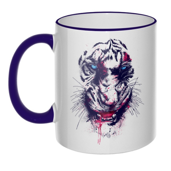 Кружка Тигр с цветным ободком и ручкой