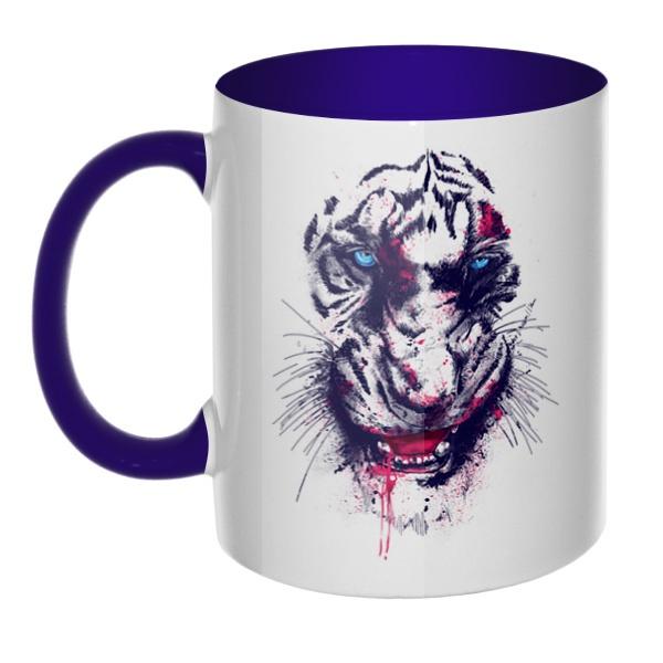Тигр, кружка цветная внутри и ручка