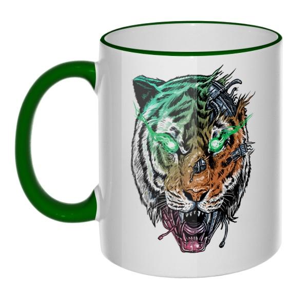 Кружка Тигр-киборг с цветным ободком и ручкой
