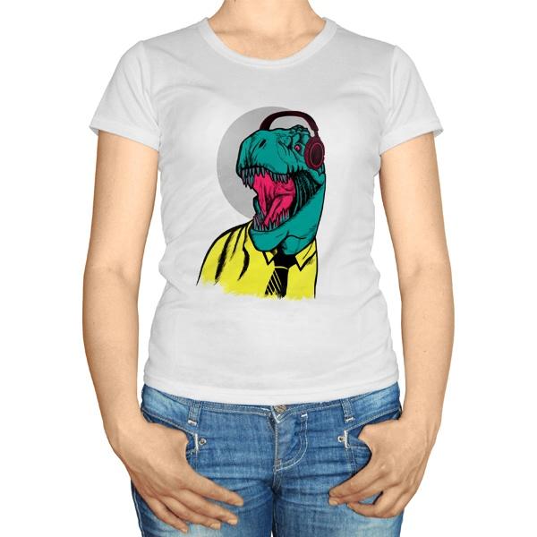 Женская футболка Динозавр в рубашке