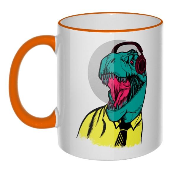 Кружка Динозавр в рубашке с цветным ободком и ручкой