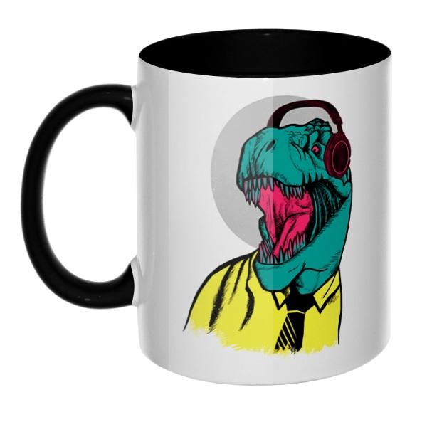 Динозавр в рубашке, кружка цветная внутри и ручка