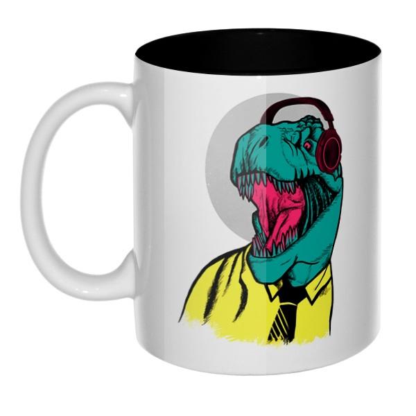 Динозавр в рубашке, кружка цветная внутри
