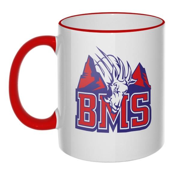Кружка BMS (Реальные парни) с цветным ободком и ручкой