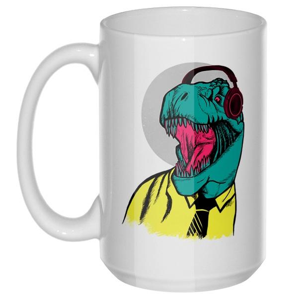 Динозавр в рубашке, большая кружка с круглой ручкой, цвет белый