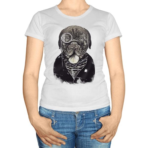 Женская футболка Собака с пенсне