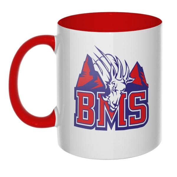 Кружка BMS (Реальные парни) цветная внутри и ручка, цвет красный