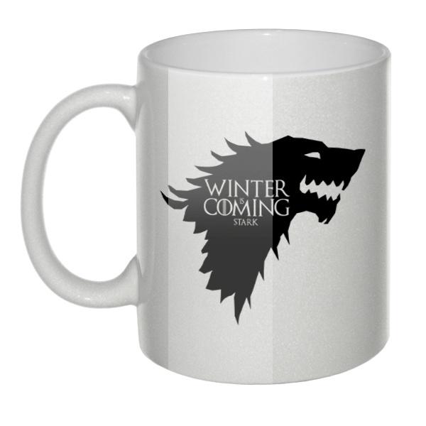 Перламутровая кружка Winter is coming Stark